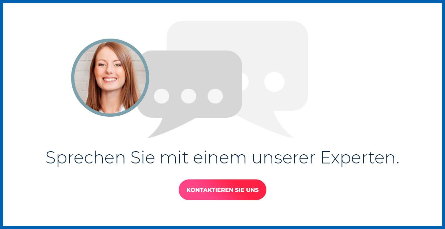 Popup: Speak with one of our experts. Woman in a bubblle chat.